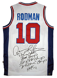 premium selection d1aaa a808b Dennis Rodman Signed Official NBA White Pistons Stat Jersey
