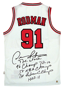 super popular 79990 74d1c Dennis Rodman Signed Official NBA White Bulls Stat Jersey