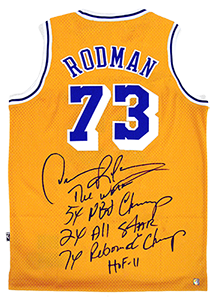 new product c5c39 c4b2e Dennis Rodman Signed Official NBA Lakers Stat Jersey